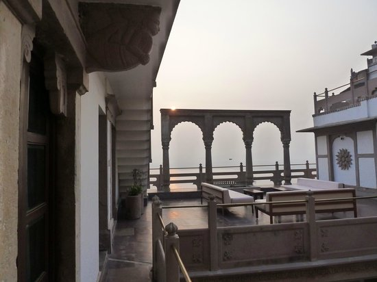 WelcomHeritage Jukaso Ganges:                                     A view from our door out toward the terrace and the Ganga