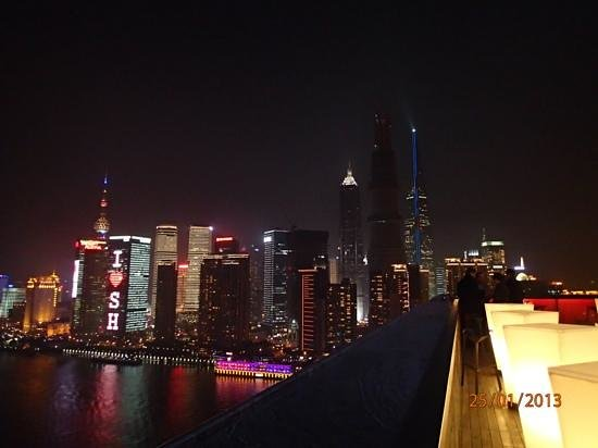 Hotel Indigo Shanghai on the Bund:                   View across the Huangpu river from the Char Bar on L30