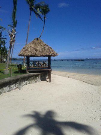 Fiji Hideaway Resort & Spa:                                     One of the shelters along the resort looking out to the cora