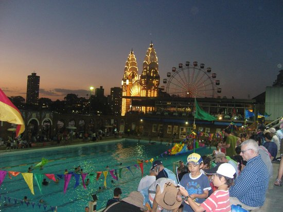 Olympic Pool North Sydney:                   Luna Park at night from the tiered seating