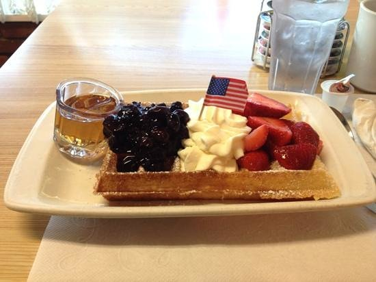 Belgian Cafe:                   Stars and Stripes Waffle!
