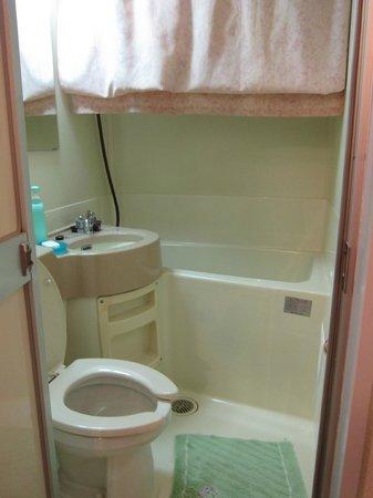 เรียวคัง ยามะซากิ:                                     Bathroom's kinda small but usable. Low ceilings