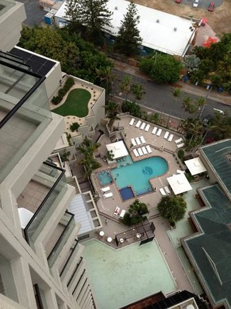 QT Gold Coast: View of pool area from the 18th floor