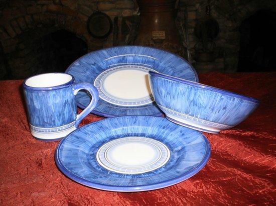 Antica Fornace Deruta: plate blu set
