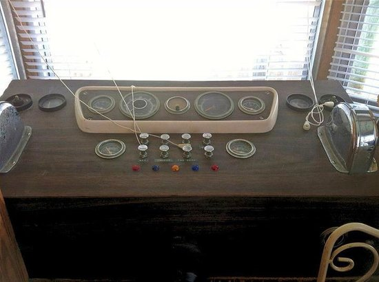 "Sea Cove Motel and Marina:                   Houseboat ""Controls"" at the front (Boat #15)"