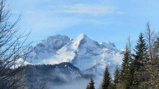 Schloss Elmau - Luxury Spa & Cultural Hideaway:                   Vom Langlaufgelände Blick auf die Alpspitze