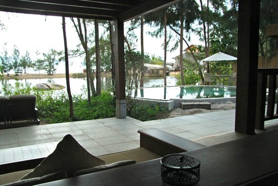 L'Alyana Ninh Van Bay:                   Looking across our own private pool, across the lagoon, to the beach