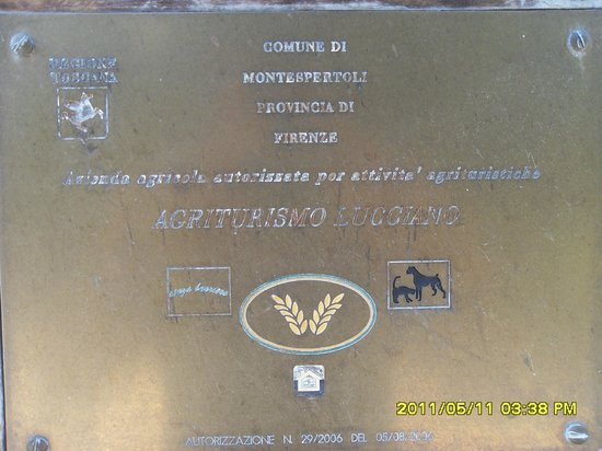 Agriturismo Lucciano: Targa di Riconoscimento