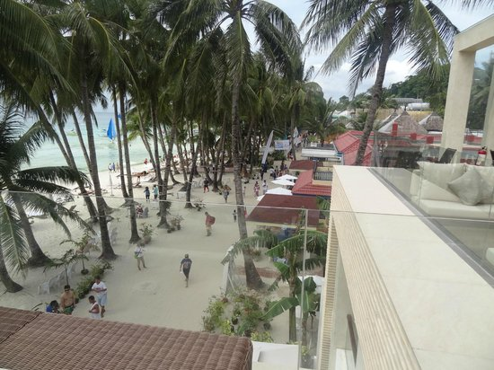 The District Boracay:                                     beach and walkway viewed from the 3rd floor common terrace