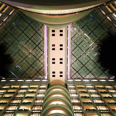Jeddah Hilton Hotel:                   view from lobby looking up