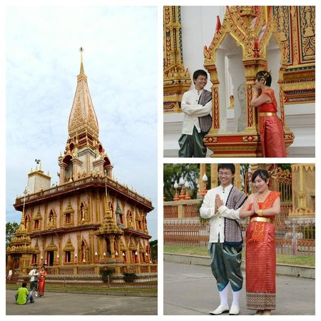 Wat Chalong: the Grand Pagoda and a Thai wedding couple..