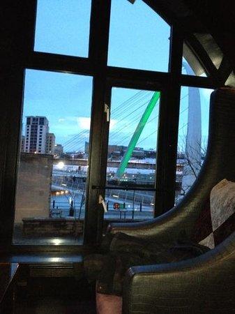 Malmaison Newcastle:                   millennium bridge from the malbar