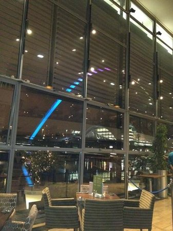 Malmaison Newcastle:                   view from our dinner table at the pitcher and piano
