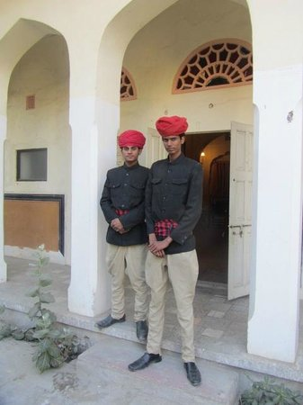 Naila Bagh Palace:                   Bell boys cut striking figures in traditional Rajasthani turbans
