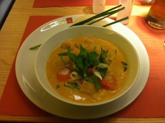 cha cha - positive eating:                   Bio Garnelen Curry with prawns