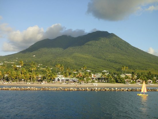 Four Seasons Resort Nevis, West Indies:                                     View from boat upon arrival