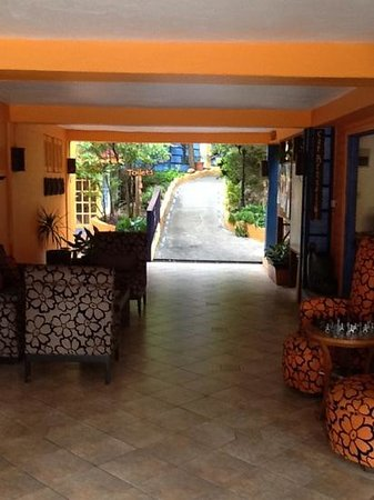 True Blue Bay Boutique Resort: walk way to my room