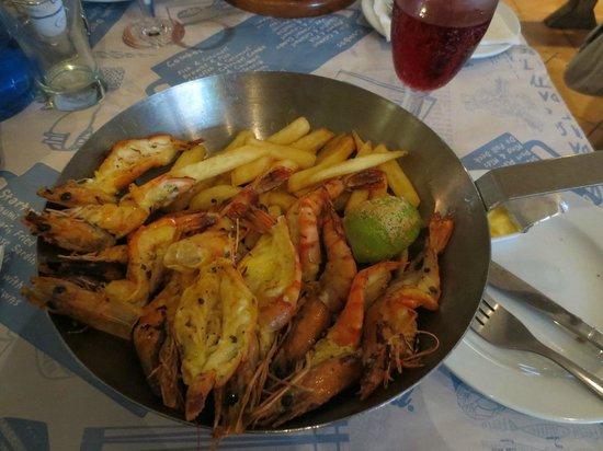 Ocean Basket:                   Eating prawns