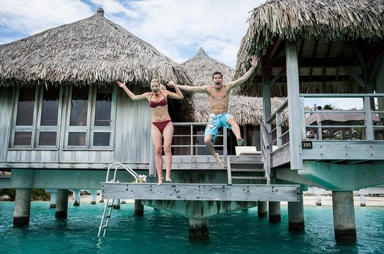 The St. Regis Bora Bora Resort:                                     You can jump off Bungalow decks into Lagoon