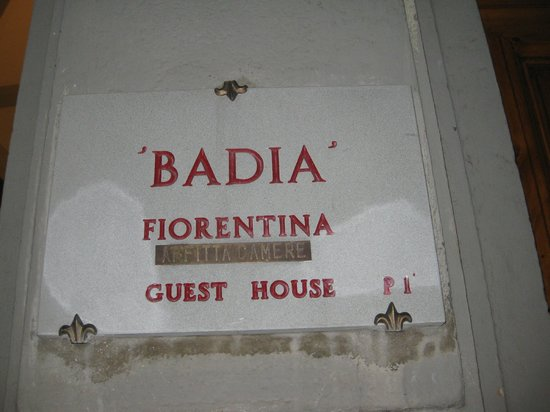 Badia Fiorentina Bed and Breakfast:                                     entrance sign