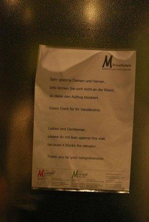 Hotel Metropol: inside the elevator