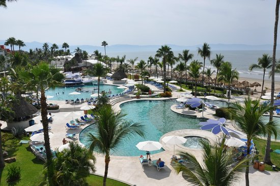 Hard Rock Hotel Vallarta:                   View from our balcony of the pools