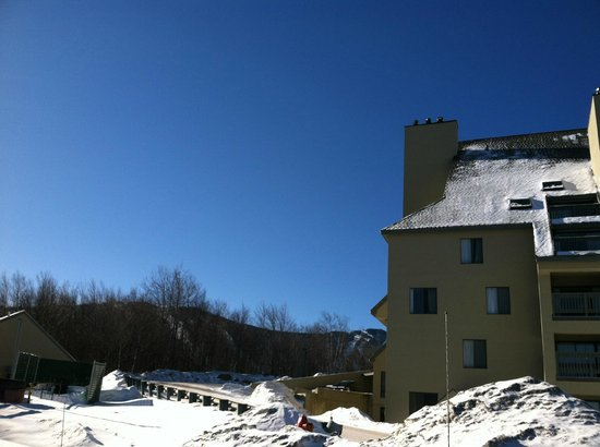 Mountain Green Resort:                   View from Bldg. 1 upper parking lot - Bldg. 3 in foreground, Killington slopes