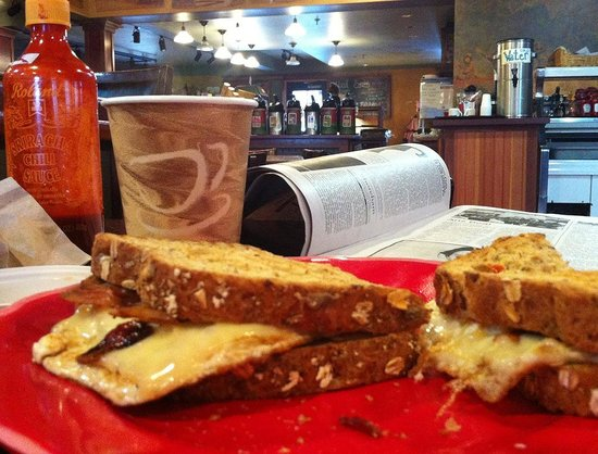 Sama's Cafe:                   excellent egg & bacon sandwich on hearty wheat bread