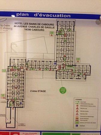 Hôtel les bains de Cabourg :                   le plan des chambres