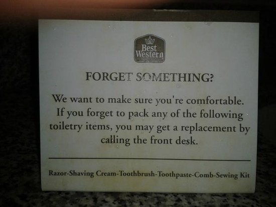 Best Western Springfield:                   The famous toiletry sign