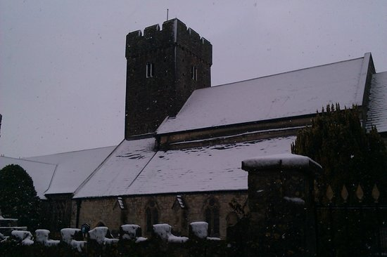 Llantwit Major, UK: St Illtud's Church in the snow