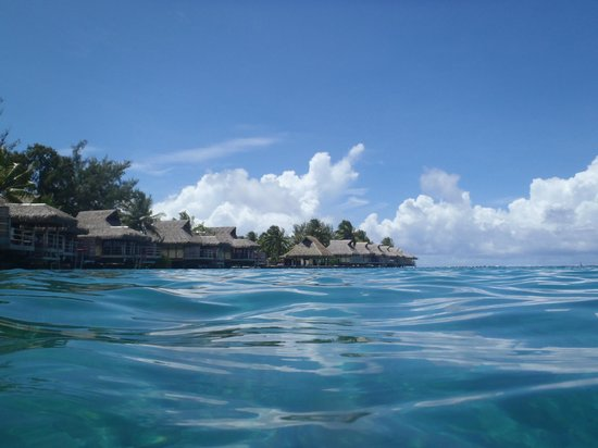 InterContinental Moorea Resort & Spa:                   View from the water in the back of our bungalow suite