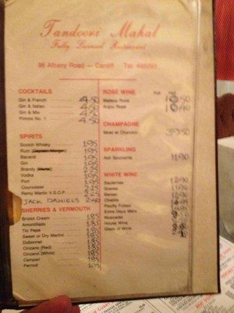 Tandoori Mahal Indian Resturant:                   Mateus Rose