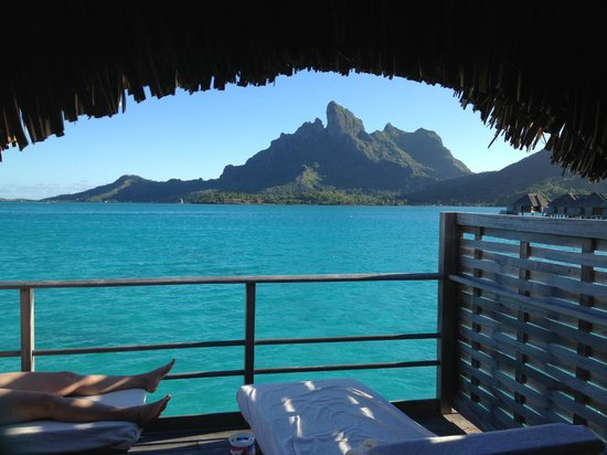 Four Seasons Resort Bora Bora:                   View from our Bedroom in our bungalow.