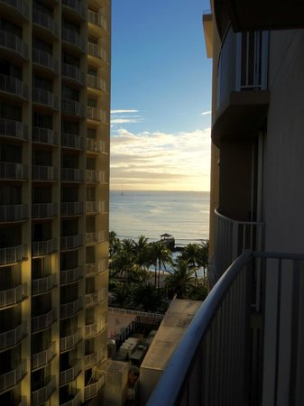 Aston Waikiki Beach Hotel:                   Small peek of the ocean from my room