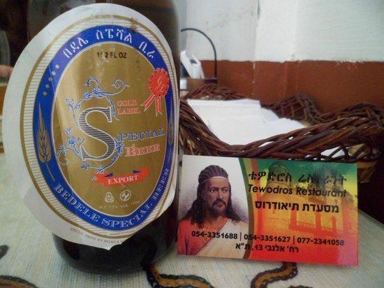 Ethiopia Restaurant:                   Ethiopian Bedele beer and restaurant card.