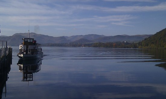 Ullswater Steamers:                   Steamer approaching Pooley Bridge