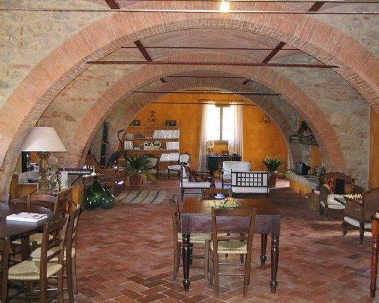 Agriturismo  Podere PratoVecchio:                   Il salone:camino, tv, tastiere...c'è tutto per dvertirsi!