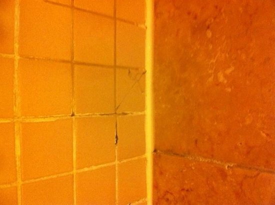 New York - New York Hotel and Casino:                                     Shower after caulking fix to cover mold