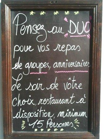 DUO: Pour les groupes, le restaurant seulement pour vous