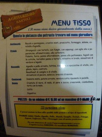 Agriturismo Bartoli:                   Menù