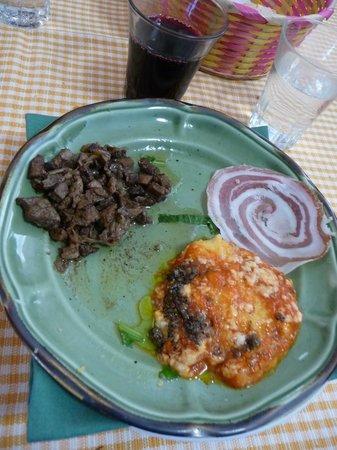 Agriturismo Bartoli:                   ripasso di coratella e polenta al tartufo