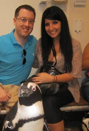 Newport Aquarium:                                     my boyfriend & i in the penguin encounter!