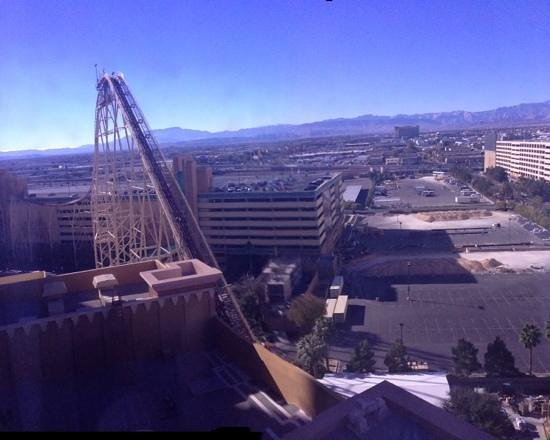 New York - New York Hotel and Casino:                   roller coaster view and mountains