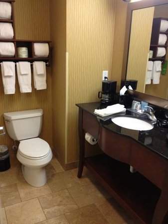 Hampton Inn & Suites Watertown:                   Dbl Queen Bed room - bathroom