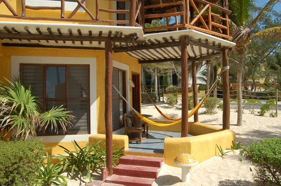 Mahekal Beach Resort: Our Ocean Front room, complete with hammocks.