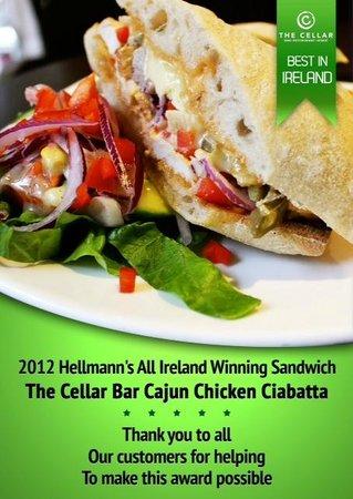 The Cellar Bar and Restaurant: Cellar Bar and Restaurant- Winner of Helmann's All Ireland Best Sandwich