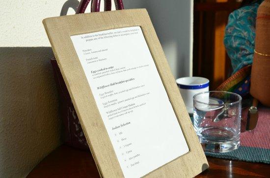 ไวด์ฟลาวเวอร์ ฮอลล์ ชิมลา ฮิมาลายาส:                   breakfast menu