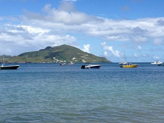 Nevis:                   view from beach