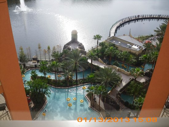 Wyndham Bonnet Creek Resort:                   view of lazy river, boardwalk and lake